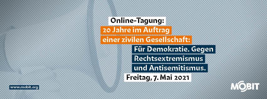 """Ankündigungsbild zur Online-Tagung: """"20 Jahre im Auftrag einer zivilen Gesellschaft"""""""