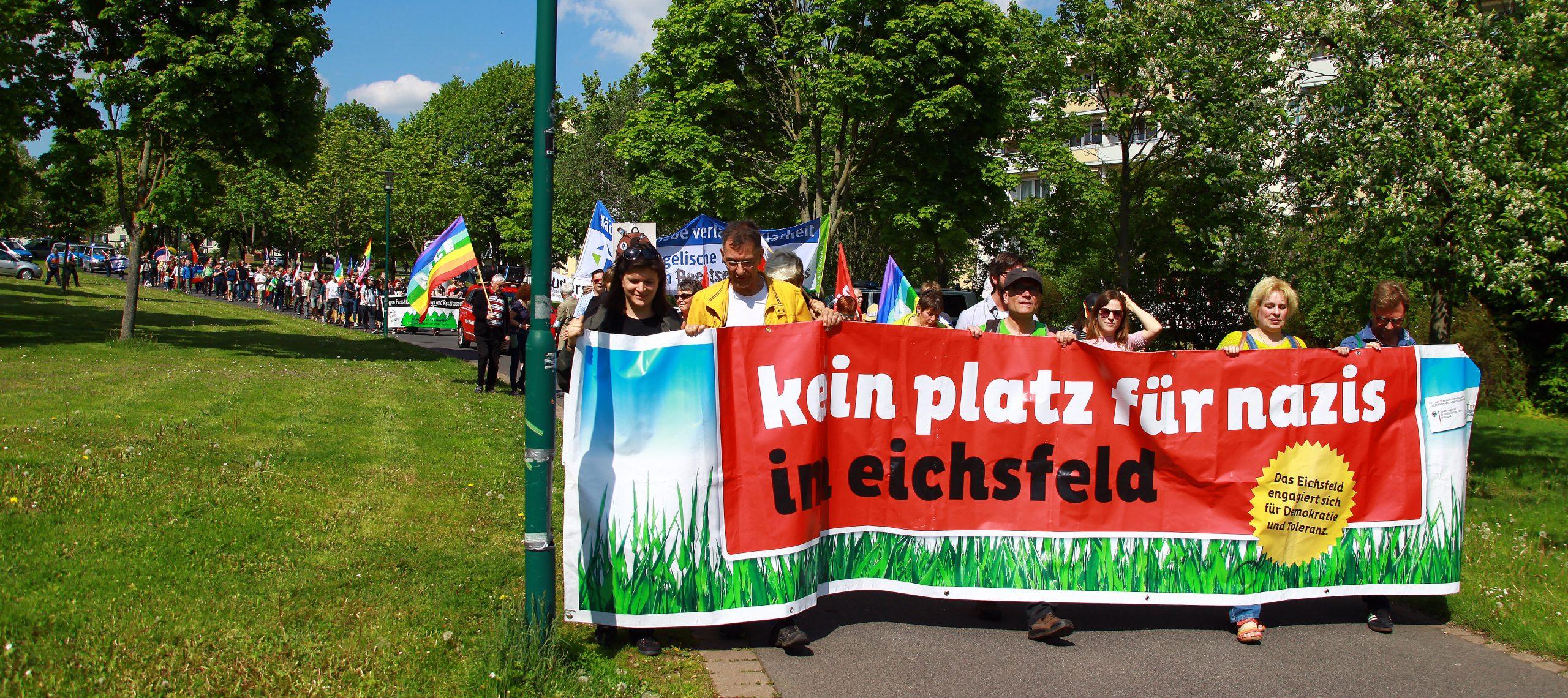 Protestzug gegen den Eichsfeldtag im Mai 2019